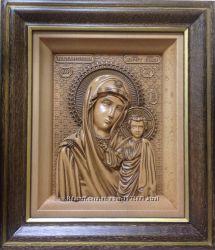 Резная икона из дерева Казанской Божией Матери. Бесплатная доставка