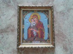 икона вышитая чешским бисером в рамке с антибликовым стеклом
