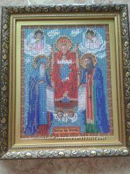 икона вышитая чешским бисером Печерская