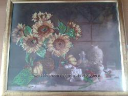 картина вышитая чешским бисером кухонная тематика в рамке с антибликом