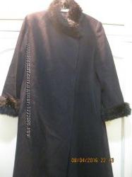 Пальто женское черное длинное размер 48 наш