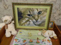 Картина вышитая крестом Мама кошка