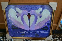 картина бисером Пара лебедей
