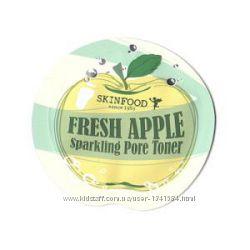 Skinfood серия Fresh Apple sparkling, пробники корейской косметики, тонер