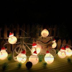 Оригинальные снеговики, светодиодная гирлянда