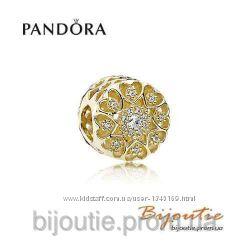 Pandora шарм золотые сердца 750841CZ золото 585 проба Пандора оригинал