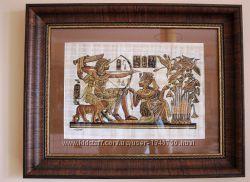 Картина на папірусі з Єгипту в чудовій коричневій рамці з паспарту