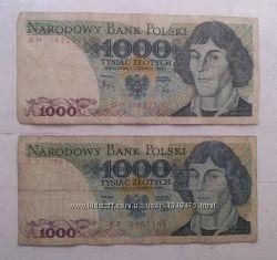 Купюра 1000 злотых 1982 года