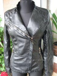 Распродажа. Куртка кожзам удлиненная, черного цвета. p. XL, 2XL