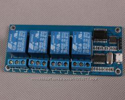 Реле 5В 4-канальный Micro USB модуль. Управление нагрузкой по USB