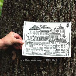 Большие открытки-раскраски для детей и взрослых Домики