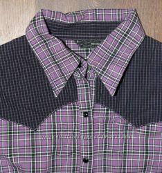 Фиолетовая рубашка в клетку