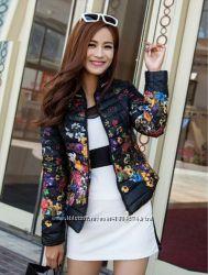 Куртка в цветочек, размер 48-50