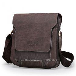 Мужская сумка - планшет Polo Рride. Наплечная, кожа  ткань, 19х18х8 см