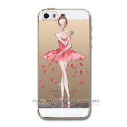 Силиконовый чехол на iPhone 5, 5s c Балериной