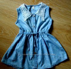 Платье летнее, тонкий джинс 3-5 лет.