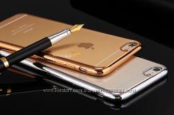 Распродажа силиконовый чехол с зеркальным ободком для Айфонов 6, 6s, 6 plus