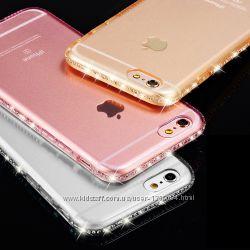Стильный силиконовый чехол со стразами на Айфон 6, 6s
