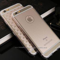 Модный золотой силиконовый чехол на Айфон 6, 6s, 6 plus, 6s plus