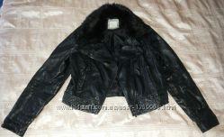Стильная куртка косуха ворот мех р. 48-50 евро 16