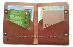 Мужской кошелек портмоне из натуральной кожи коричневый ручная работа.
