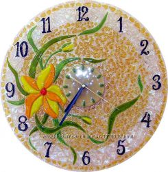 Декоративные часы для любого интерьера. Фьюзинг, кристаллы Сваровски