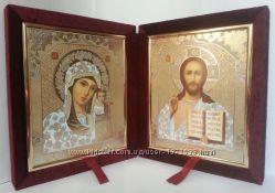 Пара икон в бархате. Венчальные иконы. Складень. Украина.