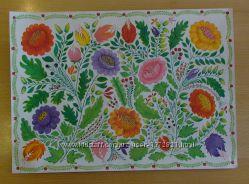 Петриковская роспись по ткани акриловыми красками батик