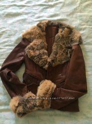 Куртка-пиджак кожаная, мех лиса, р. 36, Сумы