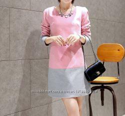 Нарядное, теплое, розово-серое платье