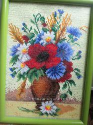 Каотина вишита бисером Цветы у вазе