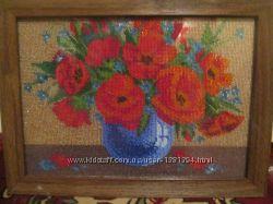 Картина вишита бисером Маки у вазе