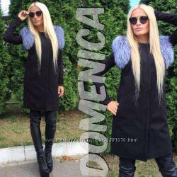 Продам жилет-пальто с натуральным мехом чернобурки
