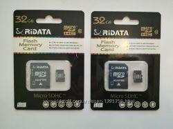 Карта памяти Ridata micro SDHC 32 гб Class 10 с адаптером новые