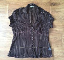 Блуза рубашка New Look разм. М коричневая в горох органза