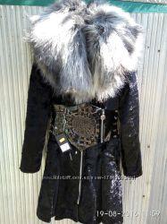 Пальто молодежное стиль зима мех мода нерпа бархат пони молния пояс корсет