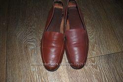 Лоферы  кожаные коричневые натуральные 37 24 см