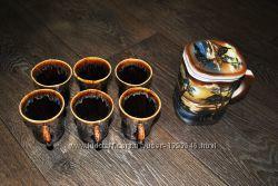 Чайный кофейный набор сервиз коричневый красивый современный новый рисунок