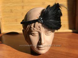 Обруч для волос ободок на голову с перьями бархат бисер